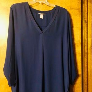 H&M blue blouse (almost navy) great cut & fit